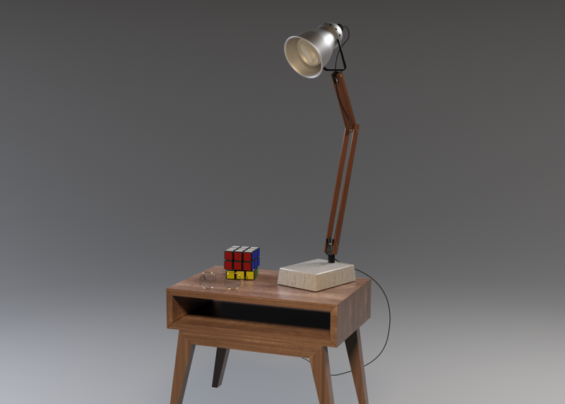 Table et lampe 3D